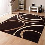 Modern Brown Cream Beige Modern Designer Carpet Home Rug 3 Sizes Available, 160cm x 230cm (5ft 6'' x 7ft 7'')