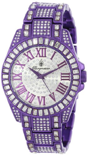 Burgmeister Bollywood Women's Quartz Watch with Silver Dial Analogue Display and Purple Bracelet BM159-010C