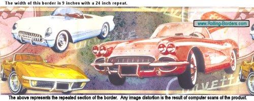 Corvette Multi Car Mural Style Wall Border 9 x 144 (24-inch repeat)