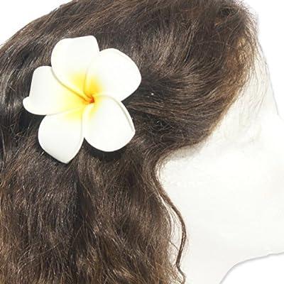 3.5 inch Life-Like Foam White Flower Hair Barrette 3.5