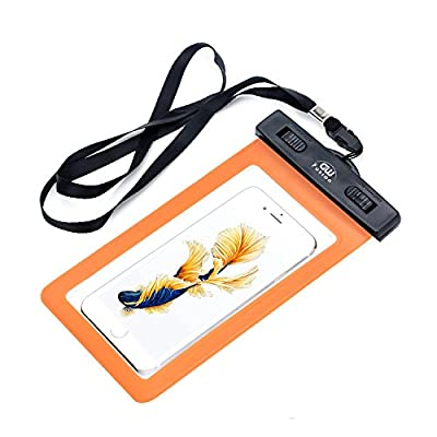 """Universal Waterproof Case, GW Fusion Cell Phone Dry Bag for Apple iPhone 6S 6,6S Plus, 5S 7, Samsung Galaxy S7, S6 Note 5 4, HTC LG Sony Nokia Motorola up to 6.0"""" diagonal (Orange) by GW Fusion"""