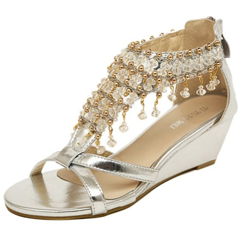 Vonfon Women Work Space Silver Pu Leather Pure Manual Metal Shining Nappa Vamp Wedge Heel Luxury Crystal Sandals 4Us front-37874