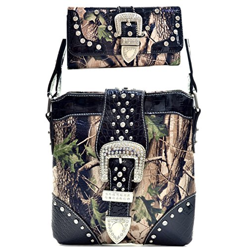 Western Camouflage Rhinestone Buckle Belt Camo Cross Body Messenger Bag With Matching Wallet - Black