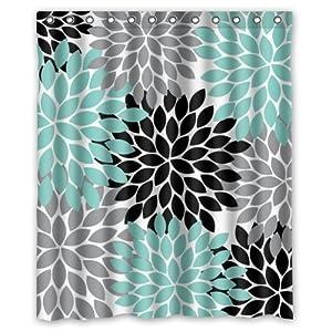 Black Grey Green Dahlia Floral Pattern Polyester Waterproof Show