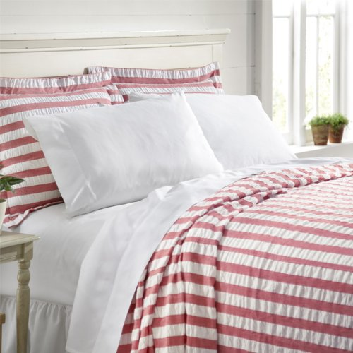 Find Discount Orvis Summer Stripe Seersucker Bedspread / Only King, Red Stripe, King
