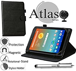 Navitech 8 Inch Black Faux Leather Rotational Case Cover & Stylus Pen For The AT&T Trek HD 4G Tablet