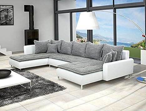 Canapé d'angle en U DANTE 6 places gris et blanc