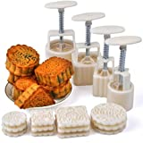 Hleeduo® Mid-Autumn Festival Hand-Pressure Moon Cake Mould With 12 Pcs Mode Pattern For 4 Sets