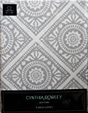 Cynthia Rowley Fabric Tablecloth Silver Gray Tile Pattern Oblong Rectangular 60 x 120