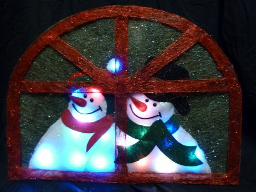 Christmas Concepts 30Cm Wicker Snowma Plaque W/ Col Changing Led'S (Ra127)