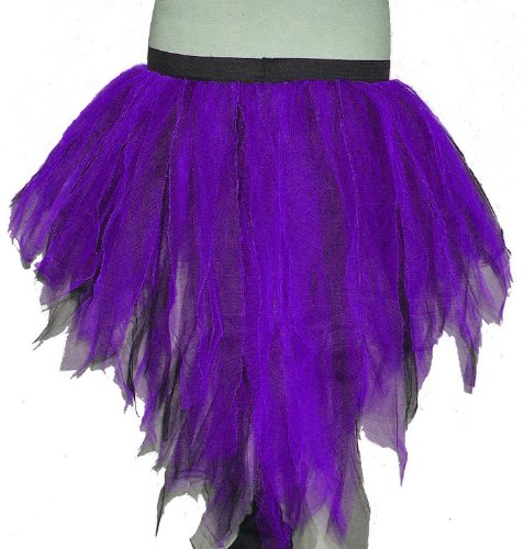 Purple Black 7 Layers Trashy Tutu Skirt Peacock Bustle Halloween Non Uv Neon Punk Rave Gothic Goth Dance Fancy Costume Dress Party Halloween Christmas Free Shipping USA