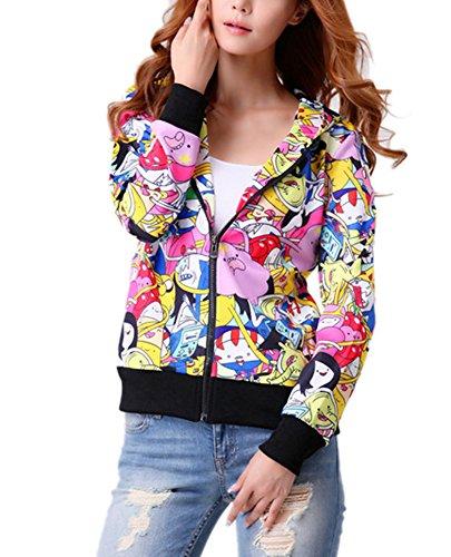RedExtend Women's Cartoon Adventure Times Hoodie Sweatshirt 3d Print Zip-Up Jacket
