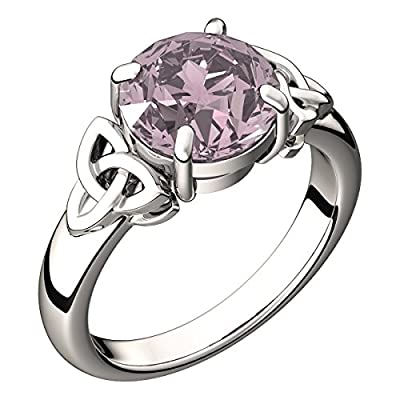 Sterling Silver Round Sapphire Pink CZ Diamond October Birthstone Irish Celtic Trinity Knot Band Ring