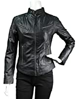 Ladies Real Leather Fitted Bikers Vintage Style Jacket