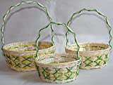RT410549-3: RATTAN FLOWER BASKETS OR EASTER BASKETS OR GIFT BASKETS WITH CRISSCROSS HANDLE AND CONTRAST DESIGNS