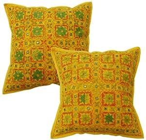 Indian Home Designer de coton d'ameublement housses de coussin avec broderie main fil de soie et Travail Miroir
