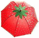 (モカベリー) MocaBelly おもしろ 野菜 折りたたみ 傘 UV カット 日傘 にも (03、赤い苺)