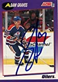 Adam Graves Edmonton Oilers Signed 1991-1992 Score Card # 358 SL COA 19509