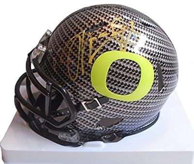 Marcus Mariota Autographed / Signed Oregon Ducks Carbon Fiber Riddell Mini Helmet, 2014 Heisman Trophy Winner, Tennessee Titans, Proof Photo