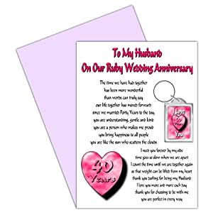 40 Wedding Anniversary Gift For Husband : Husband 40th Wedding Anniversary Card With Removable Keyring Gift - 40 ...