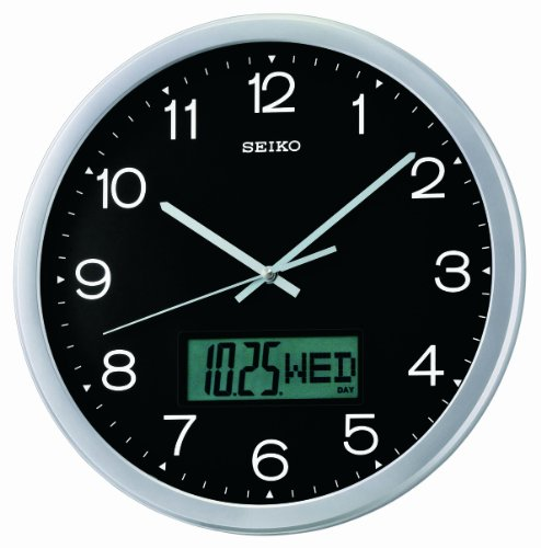 Seiko QXL007ALH Wall Collection Analog-Digital Clock