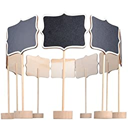 UCEC 10pcs Mini Rectangular Chalkboard with Stand and Sturdy Thick Base, Best for Wedding Party Table Numbers Place Card Favor Tag Plant Marker (Wave-Shape Edge)