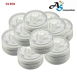 A&S Creavention® LED Wedding Mini Light Waterproof Wedding Underwater Battery Sub Lights LED (72, White)
