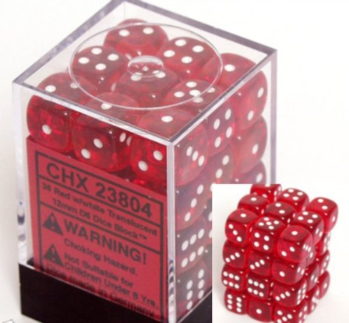 Chessex Dice d6 Sets: Red with White Translucent - 12mm Six Sided Die (36) Block of Dice