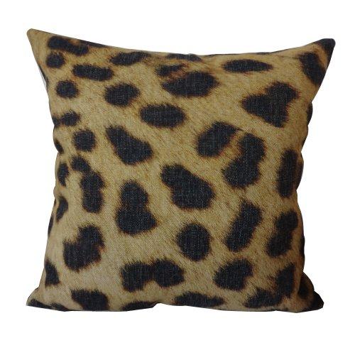 45X45Cm Leopard Animal Print Linen Cushion Covers Pillow Cases front-69849
