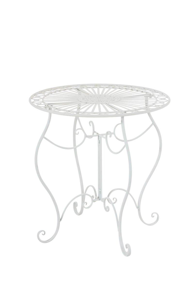 CLP handgefertigter runder Eisentisch INDRA in nostalgischem Design, Durchmesser 70 cm (aus bis zu 6 Farben wählen) weiß