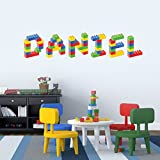 Personalised Name in Lego Blocks Children's Bedroom Baby Nursery Wall Sticker Wall Decal Wall Art Vinyl Wall Mural