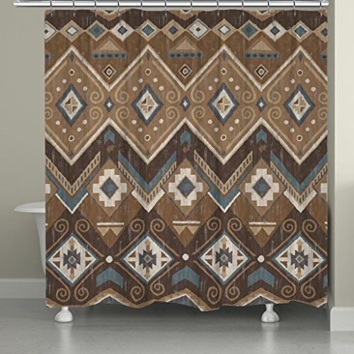 Laural Home SAF72SC Santa Fe Shower Curtain,Brown (Southwestern Shower Curtain compare prices)