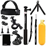 Luxebell 9-in-1 Basic Common Accessories Kit for Contour Roam Roam2 Roam3 Plus Hd 1080p Waterproof Video Camera - Head Band / Selfie Stick / Float Grip / Suction Cup / Bike Mount