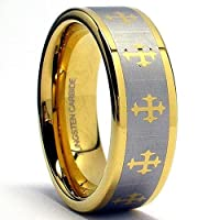 8MM Mens Gold Color Tungsten Ring with Infinity Laser Etched Cross Design Sizes 7 to 12