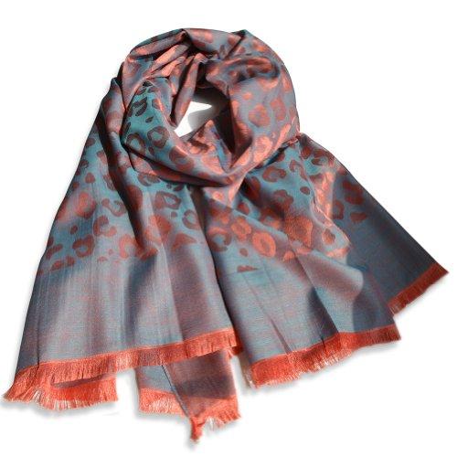 Women Gorgeous Fashion Wide Long Scarf Wrap Shawl Light Soft Stole Coral Leopard Print Peacock Blue Silk Feel