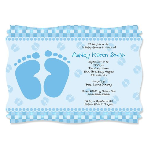 Baby Feet Blue - Personalized Baby Shower Invitations