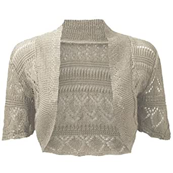 RageIT - Boléro Femme Cardigan Gilet Court Maille Crochet - 36 / 38, Beige