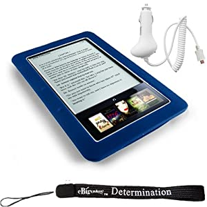 Kroo Skin Case For Barnes & Noble Nook E-Reader (Navy, Blue, Dark Blue) + Includes a 4-Inch eBigvalue Determination Hand Strap + Easy Travel Car Charger