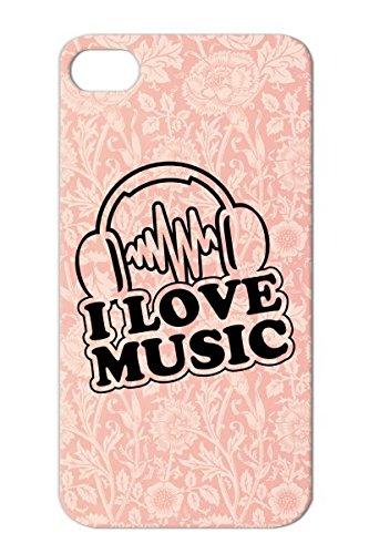 Dirtproof Black I Love Music C1 For Iphone 4/4S Music Hip Hop Pop Electro Dj Headphones Dance Breakdance Rap Case Cover