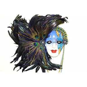 Click to buy Gorgeous Green Feather Blue Porcelain Mardi Gras Mask by H-M Shopfrom Amazon!