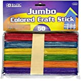 BAZIC Jumbo Colored Craft Stick, Assorted, 50 Per Pack