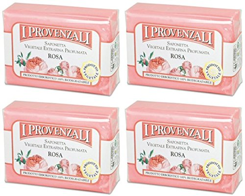 i-provenzali-rosa-vegetable-perfumed-soap-rose-scent-35-ounce-100g-packages-pack-of-4-italian-import