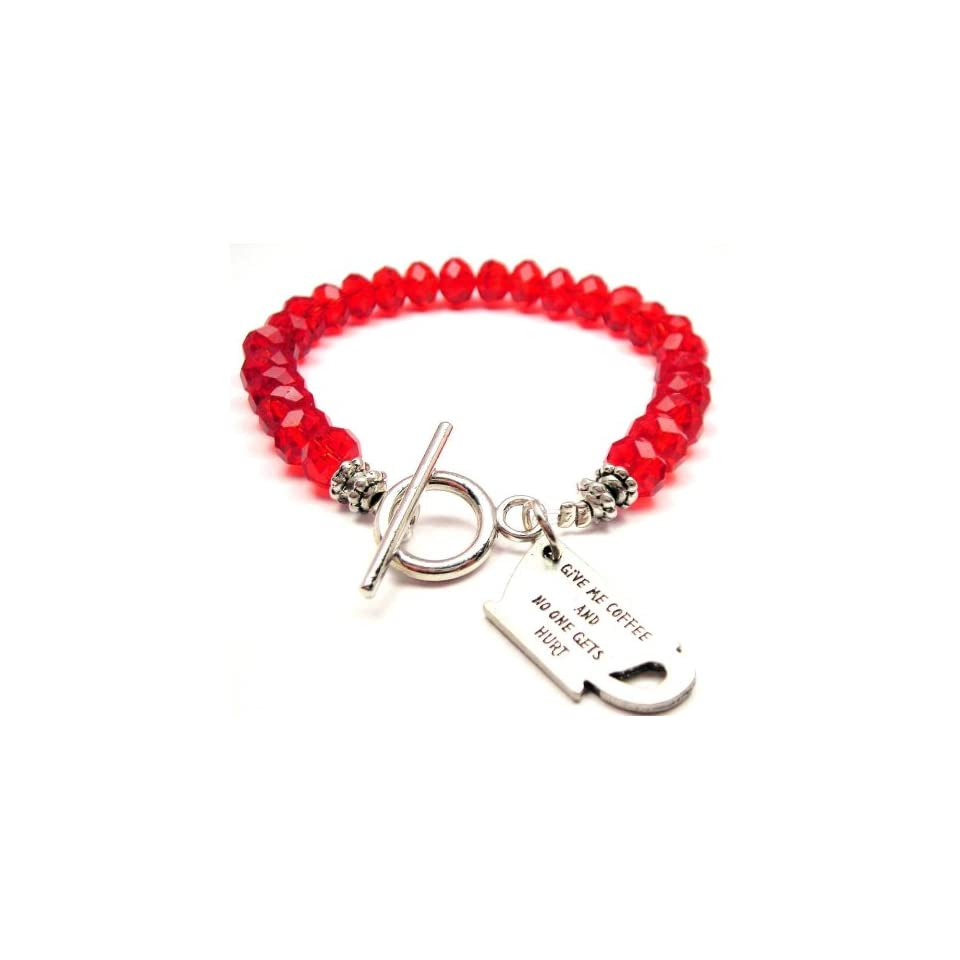Give Me Coffee and No One Gets Hurt Red Crystal Beaded Toggle Bracelet Charm Bracelets Jewelry