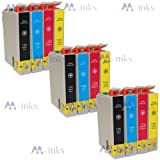 12x Compatible Printer Ink cartridge for Epson Stylus SX420W SX425W SX435W SX440W SX445W SX525WD SX620FW & Epson Stylus Office B42WD BX305F BX305FW BX305FWD Plus, BX320FW BX525WD BX535WD BX625FWD BX630FW BX635FWD BX925FWD BX935FWD Printers (Contains: 3x