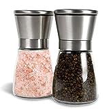 Salt and Pepper Shakers, Salt Mills, Salt and Pepper Grinder Set - Spice Grinder with Adjustable Coarseness - Easy to Fill Salt and Pepper Mill set (Set Of 2)