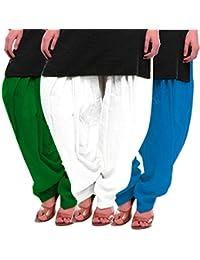 Women's Green White-Firozi Cotton Patiala Salwar