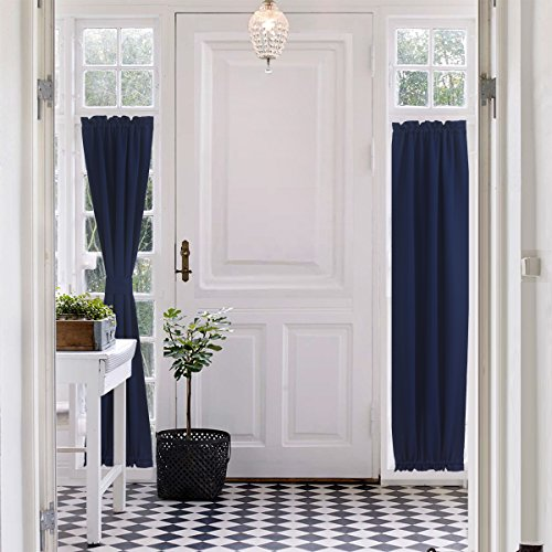 Aquazolax Plain Blackout Door Panel Curtain Readymade Privacy with Tieback - 1 Piece, 25 by 72 Inches, Navy Blue (French Door Panel Curtains Blue compare prices)