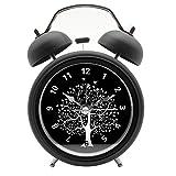 "Innolife 3"" Quiet Non-ticking Silent Quartz Analog Retro Vintage bedside Twin Bell Alarm Clock With Loud Alarm and Nightlight (Wishing Tree)"