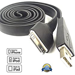 Iphone 4s Charger Cable Heavy Duty. 2.0 Fast Data Sync Cable Black. Easy to Grip Big USB & 30pin Ends. 42 Perfect for Iphone 4 4s 3 3g Ipad & Ipod. Lifetime Replacement