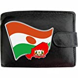 Niger Black Leather Wallet Flag Design Coloured Colored Printed Picture Image Motif Coat of Arms Emblem National Symbol Escutcheon Crest Pennon Personalisation available